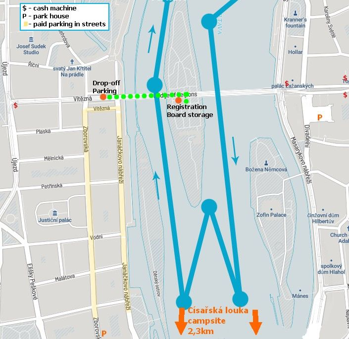 prague paddle fest_map drop-off, cash, parking